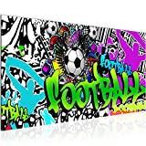 Bilder Fussball Graffiti Wandbild 100 x 40 cm Vlies - Leinwand Bild XXL Format Wandbilder Wohnzimmer Wohnung Deko Kunstdrucke Grün 1 Teilig - Made IN Germany - Fertig zum Aufhängen 402612a