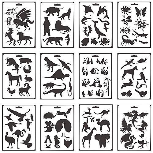 Lirener 12 Stück Tier muster Zeichenschablonen Schablonenmalerei Stencil Set, Kunststoff Schablonen für Tagebuch/Bullet Journal, Scrapbooking, Wanddekoration Karten und DIY Craft, 12,7x17,8cm
