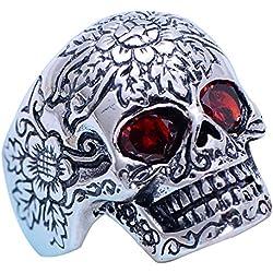 ForFox Plata esterlina 925 Negro Gótica con Ojos Rojos para Hombres Mujeres