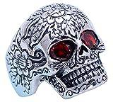 FORFOX Herren Damen Punk Schwarz 925 Sterling Silber Totenkopf Ring mit Roten Augen Verstellbar