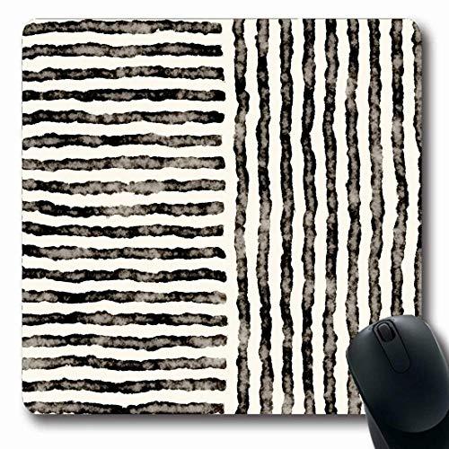 Luancrop Mousepads Weinlese-Aquarell-Block-Zusammenfassung beunruhigtes gestreiftes Muster Schwarz-weiße Linien gealterte kreative rutschfeste Spiel-Mausunterlage Gummilangmatte