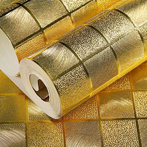 Goldfolie Mosaik PVC Gitter Tapete 3D Gold Silber KTV Hotel Friseur Hintergrundwand Rahmen Aufkleber 9.5M * 0.53M (Farbe : A)