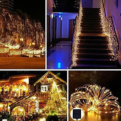 CMYK? 10M 120er LED Solar Garten Lichterkette Au?en Warmwei? f¨¹r Party, Weihnachten, Outdoor, Fest Deko usw.