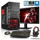 Gaming Komplett PC Set, i5-7500 4x3.4 GHz, 24 Zoll TFT, Maus Tastatur Headset, 16GB DDR4, 1TB HDD, GTX1060 6GB, Windows 10 Spiele Computer zusammengestellt in Deutschland Desktop Rechner