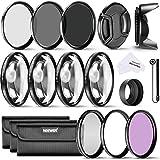 Neewer 52mm filtro Kit de accesorios para Nikon D3300D3200D3100D3000DSLR Cámara: UV, CPL, FLD Filtros + filtros de primer plano macro (+ 1, + 2, + 4, + 10) + filtros de densidad neutra (ND2, ND4, ND8) + parasol de objetivo + Tapa de objetivo