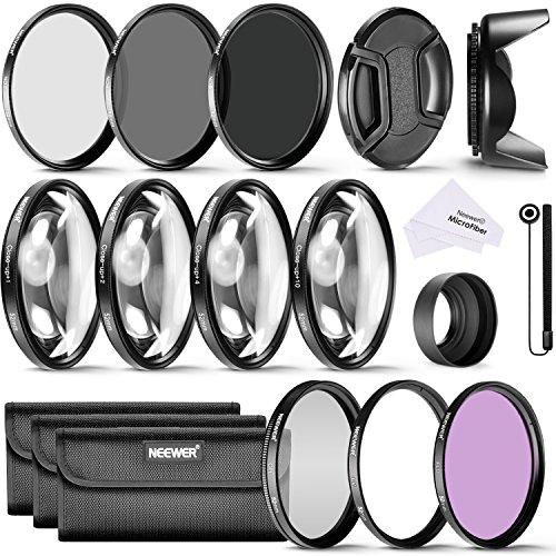 Galleria fotografica Neewer 52Mm Completo Filtro Accessorio Kit Per Nikon D3300 D3200 D3100 D3000 D5300 D5200 D5100 D5000 D7000 D7100 Dslr Fotocamera, Kit Include Filtri Kit (Uv, Cpl, Fld)+Macro Closeup Filtri Set(+1, +2, +4, +10) + Filtri A Densità Neutrale Set (Nd2, Nd4, Nd8) + 3In1 Peighevole Parasole + Parasole A Forma Di Tulipano +Copriobiettivo + Cinturino Per Copriobiettivo +Borsetta Portabile Per Filtri+ Panno Di Pulizia In Microfibra