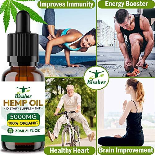 Gotas de aceite de semilla de cáñamo | Puro orgánico | Ayuda para dormir natural | para aliviar el dolor,  la ansiedad y el estrés Ingredientes 100% naturales ricos en omega 3- 6- 9 y vitaminas