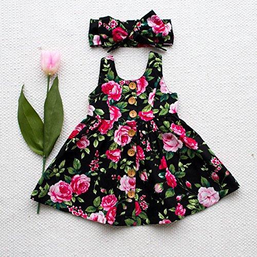 zooarts Baby Kinder Kleinkind Mädchen Floral Prinzessin Fancy Kleid und Kopfband Outfit Kostüm Mädchen Kleidung (schwarz), multi, 100 (18-24 Months)