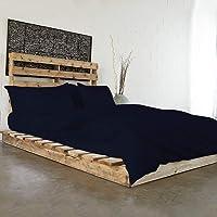 Linen Affairs Light-Weight Microfiber Duvet Cover Set (Cot Bed_Navy Blue Solid)