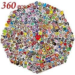 Q-Window Lot Autocollant (360-pcs) Autocollants Vinyle Stickers pour Ordinateur Portable, Bouteilles d'eau, Bagages, PS4, Xbox One, Phone, Voiture, Cadeaux pour Adultes,Adolescents,garçons et Filles