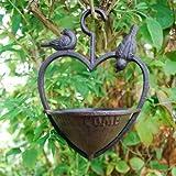 Gardens2you Mangeoire pour oiseaux en forme de cœur à suspendre Fonte