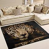 yibaihe Große Fläche Teppiche Cool Wild Leopard Gedruckt, leicht rutschfeste antistatisch wasserabweisend Boden Teppich für Wohnzimmer Schlafzimmer Home Deck Terrasse, 160x 122cm (5'7,6cm X 4'), 100 % Polyester, multi, 203 x 147 cm (6'8