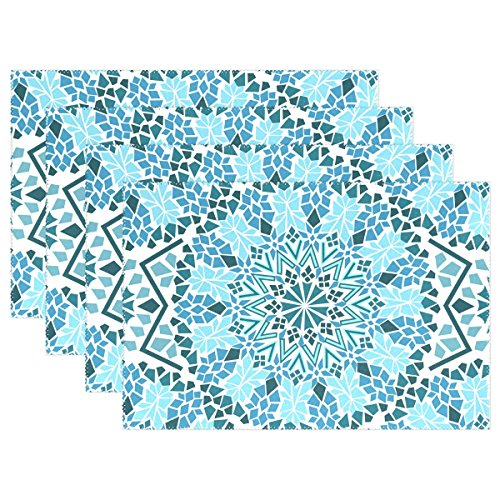 "TIZORAX Tribal Moroccan Mosaic Placemats Plate Holder 12""x18"", Heat-resistant Stain Resistant Table Mats for Kitchen Dining Room Set of 6"