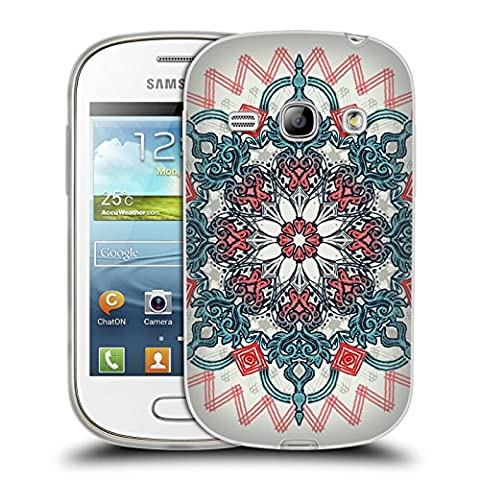 Official Micklyn Le Feuvre Coral And Teal Tangle Medallion Mandala 3 Soft Gel Case for Samsung Galaxy Fame S6810