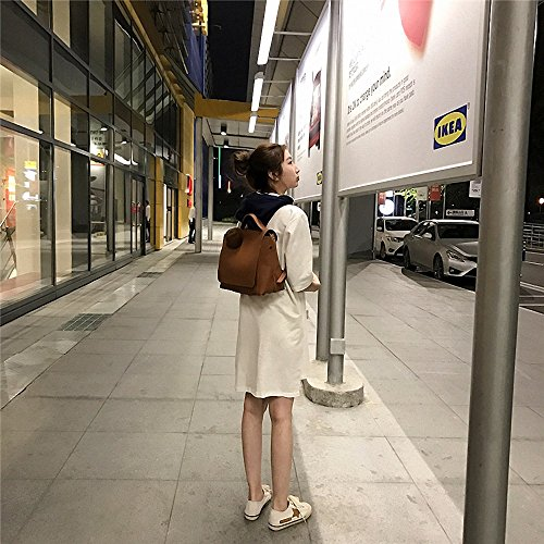 ZHUDJ Einfache Rucksack Tasche Koreanischen Große Kapazität Rucksack Freizeit Tasche Student Bag Pu, Schwarz Light brown