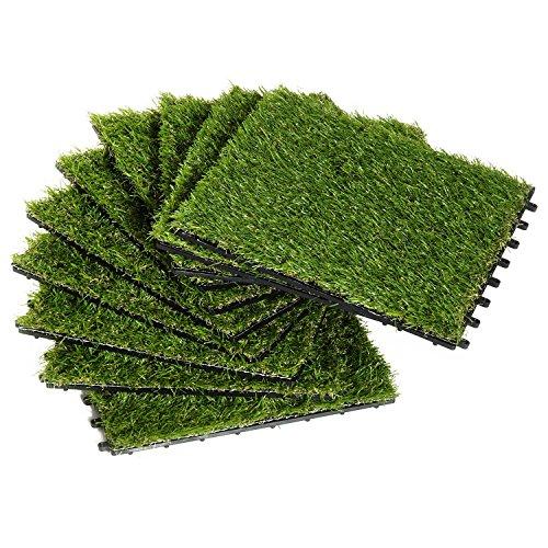 Outsunny - Prato Sintetico per Giardino Set di 10pz Erba Finta Artificiale Esterno
