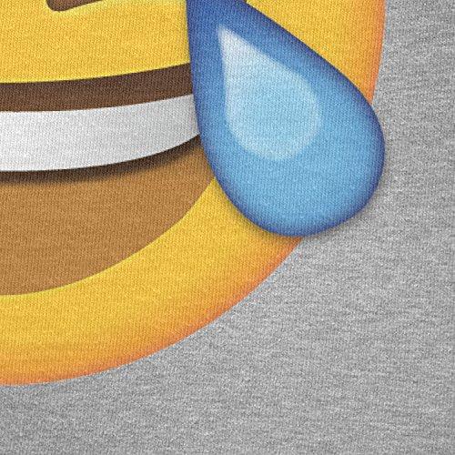 TEXLAB - Tears of Joy Emoji - Herren Langarm T-Shirt Grau Meliert