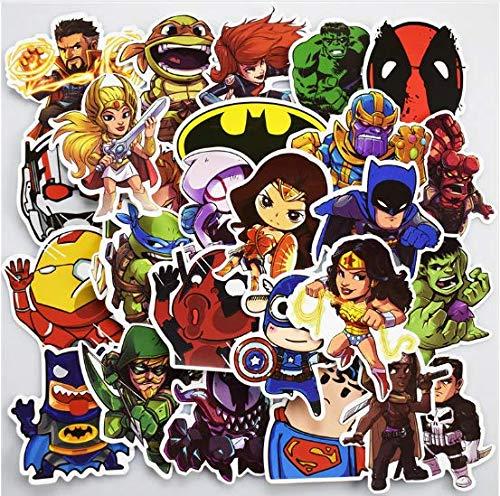 Marvel DC Avengers Super Hero & Villains Aufkleber Flocken - Superman Hulk Spiderman Captain America Deadpool für Laptop, Kinder, Teenager, Autos, Motorrad, Fahrrad, Skateboard Gepäck (100) - America-fahrrad Captain