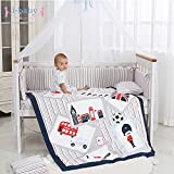 i-baby Set di biancheria da letto per asilo nido da 9 pezzi Set di biancheria da letto per neonati cuccioli Set di lenzuola per culla per neonato Copripiumino in cotone 100% (tempo britannico)