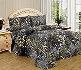 Blanco y negro de piel de cebra leopardo juego para cama de matrimonio 4 pc Safari diseño de piel de leopardo fundas de almohada ropa de cama