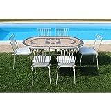Set Tavolo Giardino Ovale Fisso Con Piano In Mosaico 160 X 90 Con 6 Sedie In Ferro Tortora Per Esterno