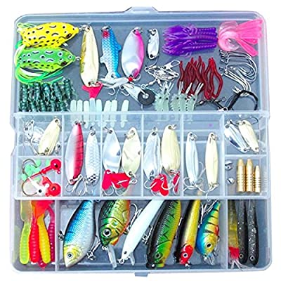 Fishing Lures - SODIAL(R)100 Fishing Lures Spinners Plugs Spoons Soft Bait Pike Trout Salmon+Box Set by SODIAL(R)