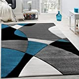 Alfombra De Diseño Moderna Estampado Geométrico Contorneada Turquesa Gris Negro, tamaño:80x300 cm