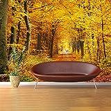 azutura Herbst Gelbe Bäume Wandbild Waldweg Foto-Tapete Wohnzimmer Dekor Erhältlich in 8 Größen Riesig Digital