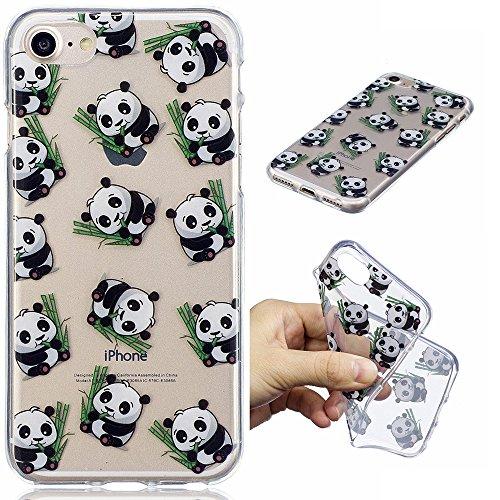 Cover iPhone 6S 6, E-Unicorn Custodia Cover iPhone 6S 6 Trasparente con Disegni Panda Silicone Morbido TPU Gomma Morbida Colorate Ultra Slim Bumper Case Retro Elegante Modello Protezione Protettiva Po Panda