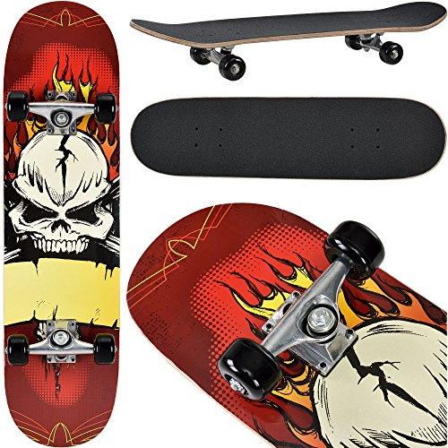 [pro.tec] Skateboard classico (79 x 20,5 x 13,5 cm)(ABEC 7 - cuscinetto a sfere)(Angry Skull) Bord completto / Retro Board