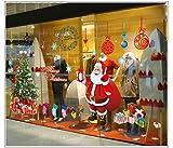 Noël Décoration Stickers Muraux- Merry Xmas Tree Santa Claus- Show Shop Verre De Fenêtre Accueil - X Large