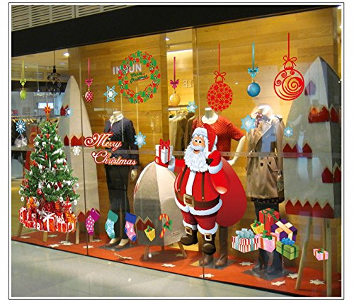 Natale Decorazioni Vetrofanie Della Decalcomania Della Home - Merry Christmas Tree Santa Claus Decor Wallpaper Decorazione - Babbo Natale