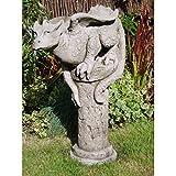 Vidroflor Gartenfigur | Drache auf Säule THERON | H: 65 cm | 29 kg | aus massivem Steinguss