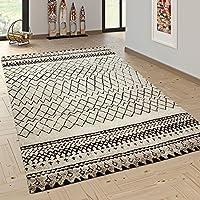 Paco Home Designer Teppich Modern Skandinavisch Trend Zick Zack Muster  Schwarz Creme, Grösse:80x150