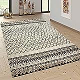 Paco Home Designer Teppich Modern Skandinavisch Trend Zick Zack Muster Schwarz Creme, Grösse:80x150 cm