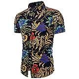 BURFLY T-Shirt Sommer Herren, 2018 Mode Männer Sommer Drucken Floral Kurzarm Leinen Grundlegende T-Shirt Bluse Top Plus Größe (2XL, Schwarz)