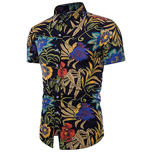 UJUNAOR Männer Sommer Bohé Kurzarm Leinen T-Shirt Bluse Top Plus Größe Oktoberfest Herren Top 5XL(Schwarz,CN ()