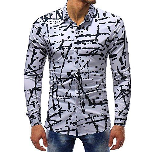 Hemd Sannysis Herren Slim Fit Hemden Bedrucktes Freizeit Businesshemd Printed Bluse Lässige Langarm Dünne Poloshirt Anzug Tops -