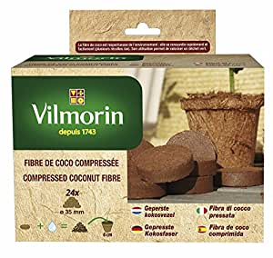 vilmorin 3990620 kit de 24 pastilles fibre de coco compress e jardin. Black Bedroom Furniture Sets. Home Design Ideas