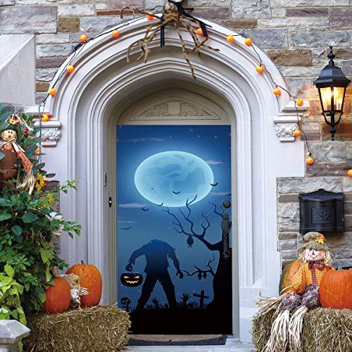 Wallpaper FANGQIAO SHOP Tür Aufkleber 3D Zombie personalisierte Aufkleber Tür Dekoration Tapeten Halloween unter dem Mond Wandbild Kunst Dekor (Color : A)