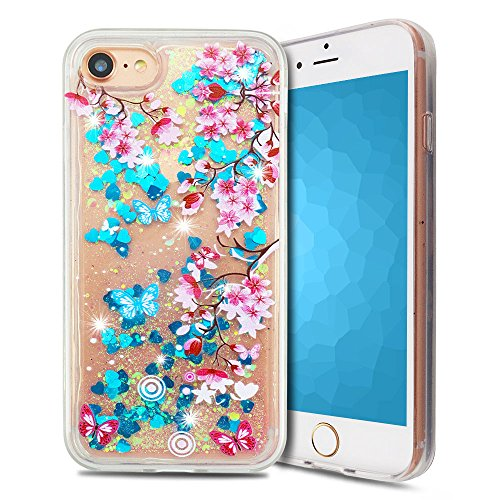 Coque iPhone 7 , Etui iPhone 8 Anfire 3D Liquid Sables Mouvants Case Étoile Paillettes Housse Bling Glitter Transparent Gel Silicone Etui de Protection Bumper Souple Quicksands Arrière Cristal Strass  Plum Blossom Blue