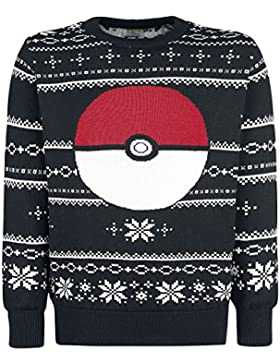 Pokémon Jumper Knitted Pokeball Sweater Grey