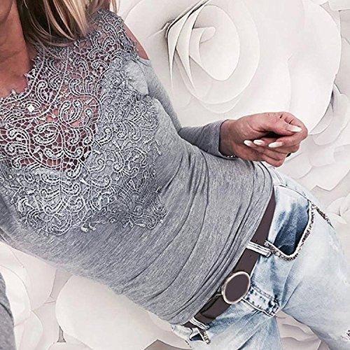 AHOOME Femmes blouse en dentelle shirt tops à Manches Longues Pull Off The Shoulder Chemise Gris