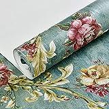 KYKDY Pastorale rétro 3D non tissé papier peint gaufré de salon chambre à coucher Bureau rouleau papier peint fleuri Mural Papier peint décoration rétro, vert, 53cm x 10M