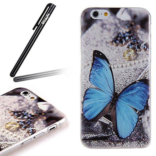 Ukayfe Custodia per iPhone 6 Plus, caso sottile sveglio per il iphone 6S Plus, TPU Crystal Clear antigraffio conColorato mondo subacqueo Custodia Cover posteriore per iPhone 6 Plus/6S Plus (5.5) di A blue Butterfly