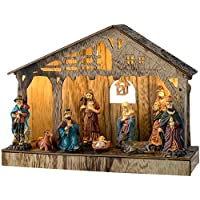 werchristmas pre lit colourful nativity scene christmas decoration wood 265 cm multi