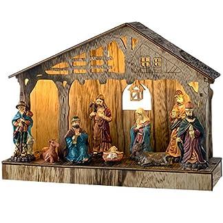 WeRChristmas–Decoración de Portal de Belén de Navidad de Colores, Madera, 26cm