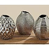 3tlg PORZELLAN Vasen Set Höhe 13CM CHROM SILBER VASE OBJEKT DESIGN VASE