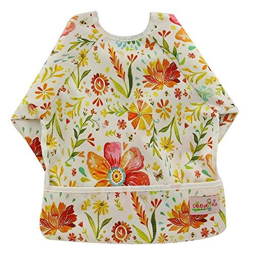 ohbabyka Wasserdichtes Baby Ärmel Lätzchen, Lätzchen mit Ärmeln und Tasche, 6–24Monate (Tuch Lange Ärmel)