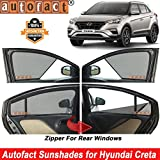 #10: Autofact Half Magnetic Window Sunshades/Curtains for Hyundai Creta [Set of 4pc - Front 2pc Half Without Zipper ; Rear 2pc Full with Zipper] (Black)